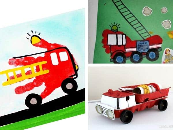 collage of crafts to do with preschoolers all about fire trucks