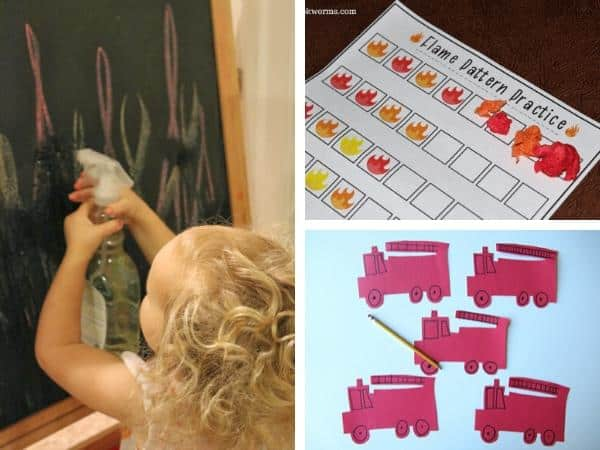collage of activities to do with preschoolers about firefighters