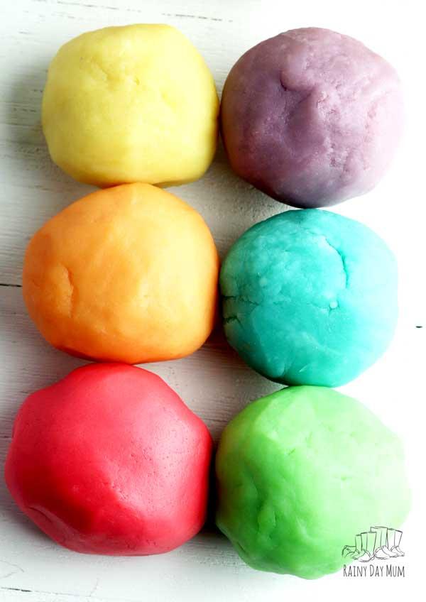 6 balls of rainbow coloured homemade playdough