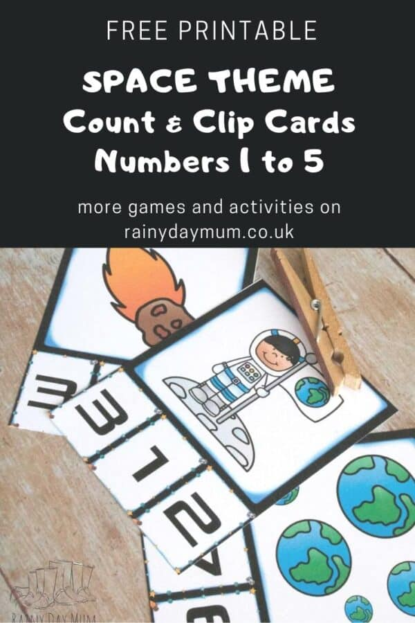 free printable space themed count and clip cards numbers 1 to 5 pinterest image