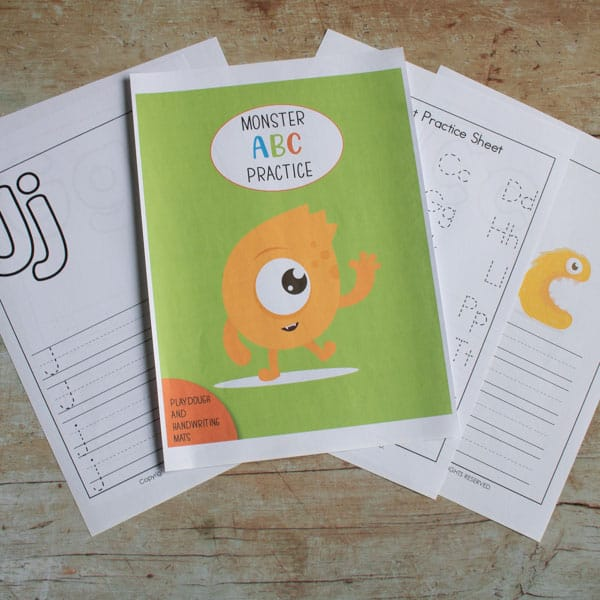 monster alphabet playdough and activity pack for toddlers