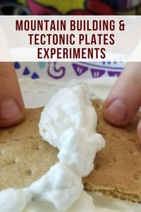 delicious mountain building experiment for kids with whipped cream and crackers