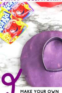 kool-aid playdough with text overlay reading never buy playdough again make your own at home with kool-aid