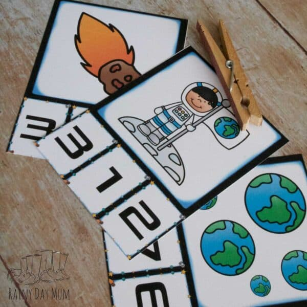 numbers 1 to 5 free printable space themed count and clip cards for toddlers and preschoolers