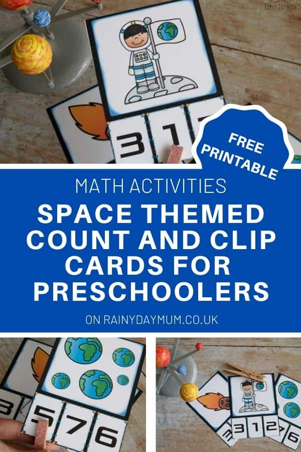 FREE printable space themed count and clip cards for preschoolers