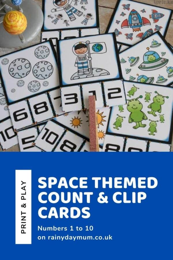 space themed count and clip cards 1 to 10 to print and use in math centers