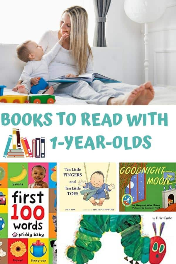 "mum and young toddler reading together with text reading ""books to read with 1 year olds"" and a collage of some of the best book covers for toddlers"