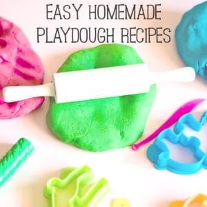 homemade playdough on a table with colourful cookie cutters and a white rolling pin text read Easy Homemade Playdough Recipes
