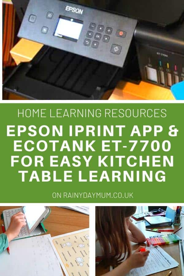 Epson EcoTank ET-7700 and kids learning at the kitchen table with text reading Home learning resources Epson iPrint App and Ecotank ET-7700 for easy kitchen table learning