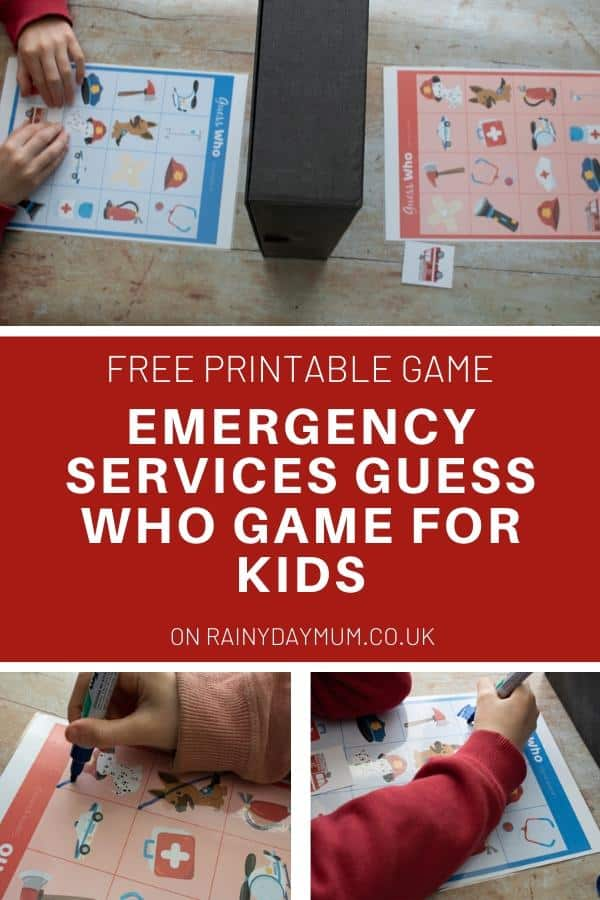 collage of a printable guess who game for kids featuring emergency services showing kids playing with text reading FREE printable Emergency Services Guess Who game for kids