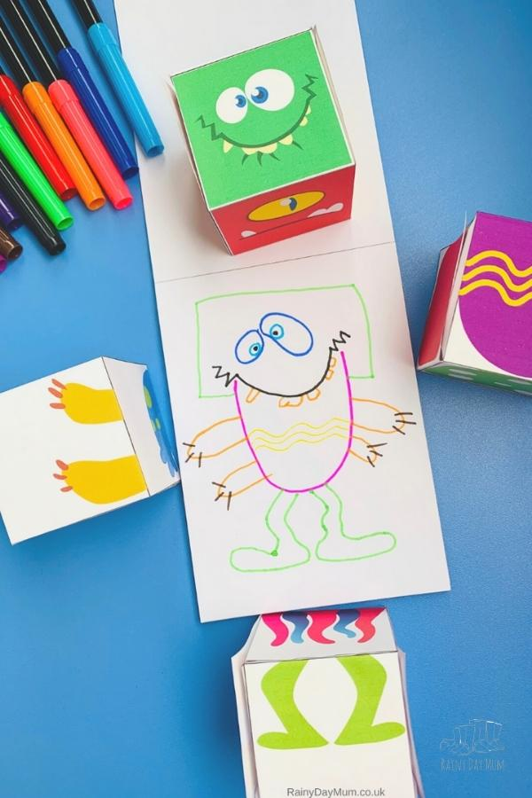 monster drawing game finished version created using the blocks that you can download for free from rainy day mum