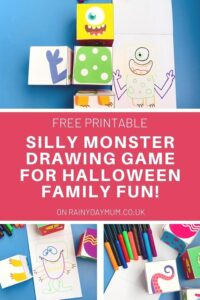 collage of crazy Halloween Monsters created using the free printable monster body part cubes