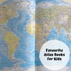 pages from an atlas with a circle overlay text on top reads favourite atlas books for kids