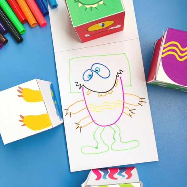 monster drawing created from a set of free printable monster body parts cubes that kids can do this Halloween