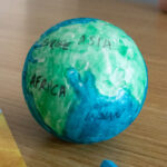 DIY polystyrene ball globe for kids to make for a geography unit study