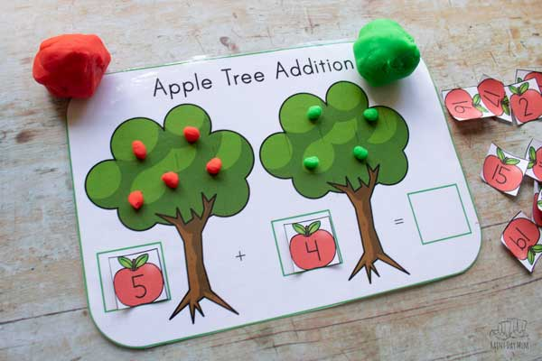 apple trees used for an addition sum a great hands-on maths activity for early primary