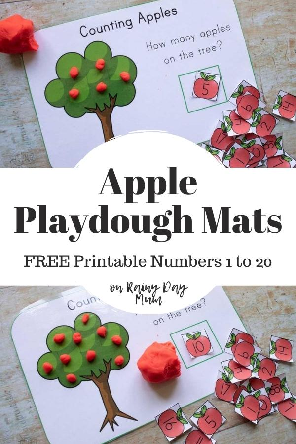 Collage of 2 images of the free printable apple playdough mats being used to count 5 and 10 apples on the tree