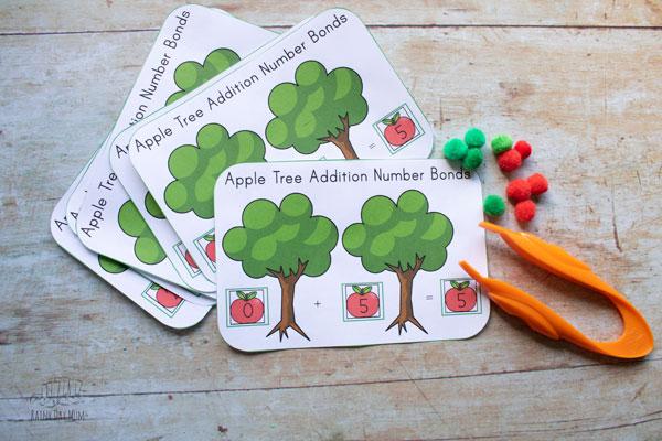 Apple tree number bond worksheets