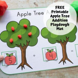 apple tree addition on a playdough mat red apples plus green apples text reads free printable apple tree addition playdough mat