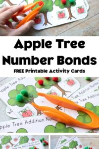 collage of the apple tree number bonds activity printable