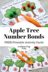Pinterest Image for an Activity on Apple Tree Number Bonds with examples of the free printables in use
