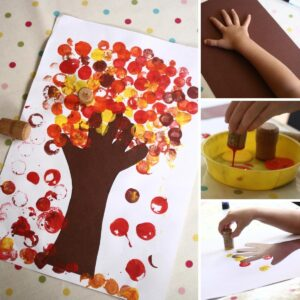 Autumn tree printed with a cork for preschoolers to make in fall