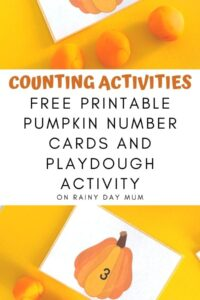 pumpkin playdough counting activity collage with free printable pumpkin number cards shown