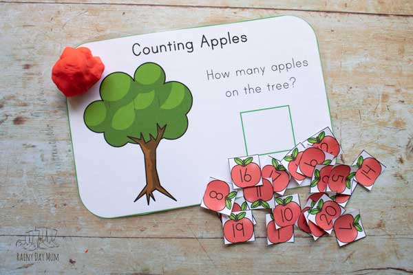 counting apples playdough mat ready for preschooler to use