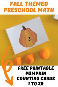 pumpkin counting cards and playdough for fall math with preschoolers and toddlers