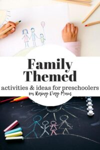 drawing of family by a preschooler above a chalk drawing of stick family text inbetween reads family themed activities and ideas for preschoolers