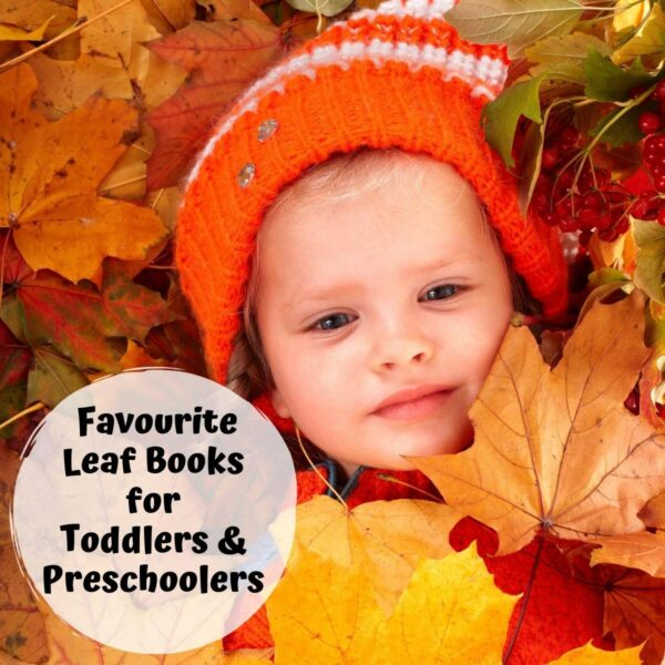 toddler in amongst the autumn leaves text overlay reads favourite leaf books for toddlers and preschoolers
