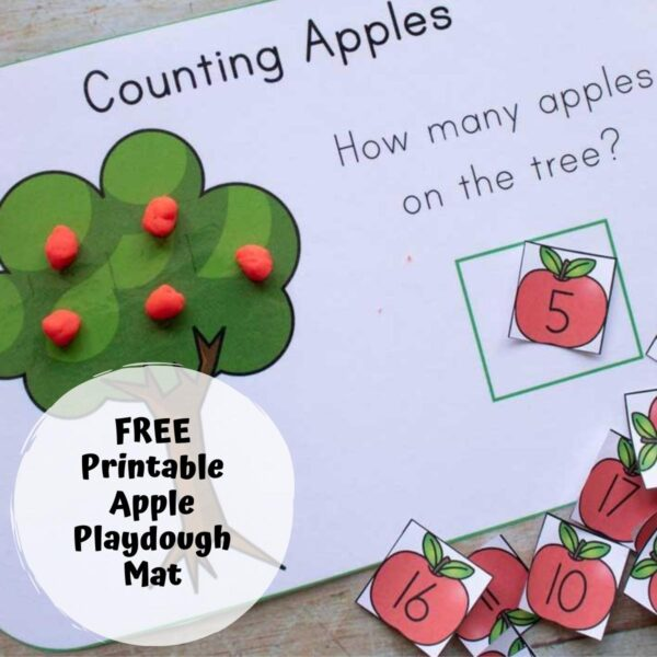apple playdough mat counted out with 5 apples on the tree text reads free printable apple playdough mat