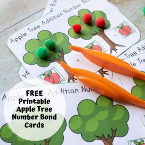 apple number bond activity cards for preschoolers to work on number bonds to 5