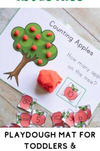 pinterest image for an apple playdough mat for preschoolers