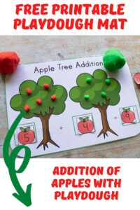 free printable playdough mat for addition with red and green apples Pinterest Image