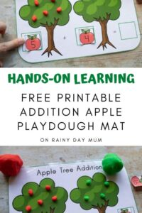 Hands on Learning collage of a playdough mat for addition with kids shown