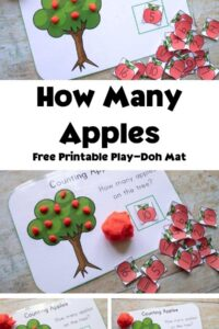 collage of images of a playdough mat featuring an apple tree being used. Pinterest Image for fall math activities for preschool