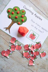 how many apples on the tree playdough mat for counting