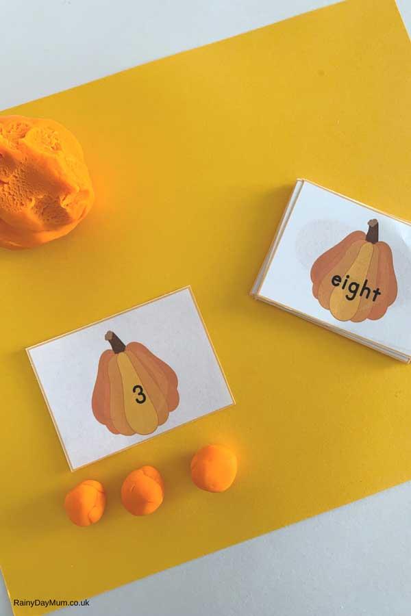 pumpkin playdough counting maths activity for preschool
