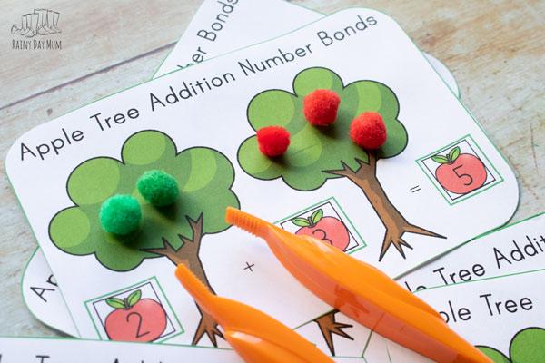 number bonds to 5 apple tree printable
