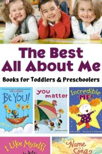 Pinterest image of book covers and preschoolers with text reading The Best All About Me Books for Toddlers and Preschoolers