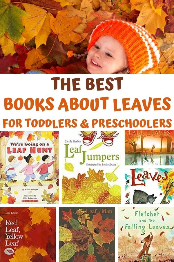 preschooler playing in the autumn leaves with covers of books to read aloud all about leaves