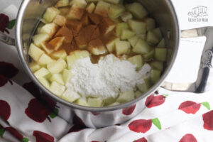 making apple pie filling with kids