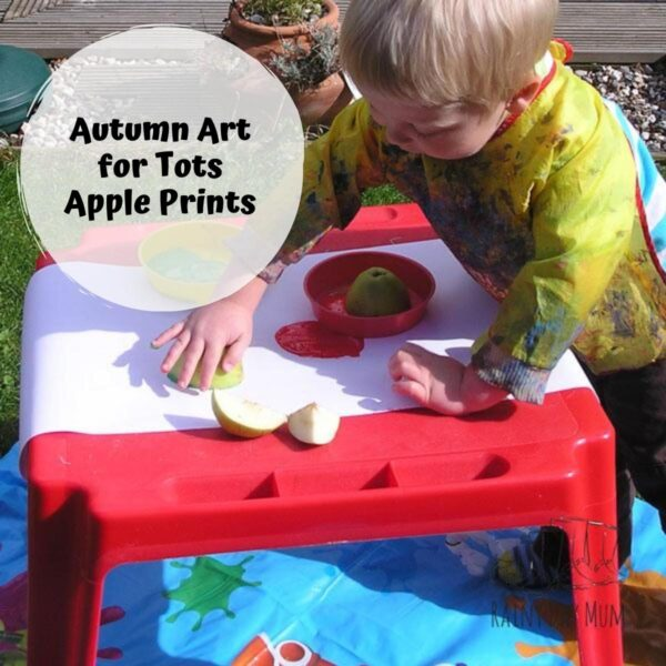 toddler making apple prints text reads Autumn Art for Tots Apple Prints
