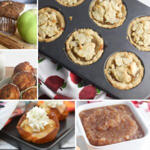 collage of apple recipes to cook with kids, apple pies, muffins, cups, sauce and loaf cake just some of the 10 included