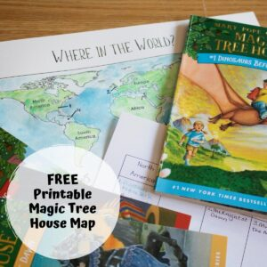 watercolour painted map that is a free printable to accompany the books from the Magic Tree House series