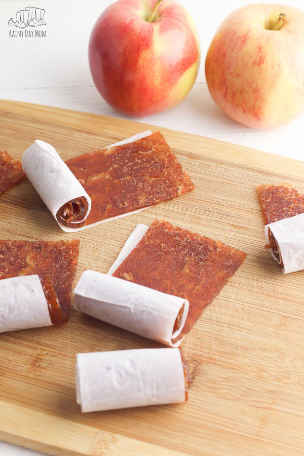 fruit leathers rolled up ready for kids snacks