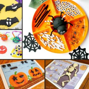 Halloween playdough fun for toddlers and preschoolers ideas in a collage