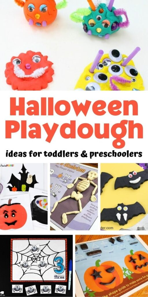 collage of halloween themed playdough activities for toddlers and preschoolers