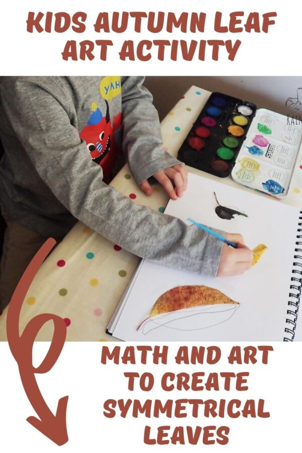 pinterest image of a preschool creating leaf art with text reading kids autumn leaf art activity math and art to create symmetrical leaves